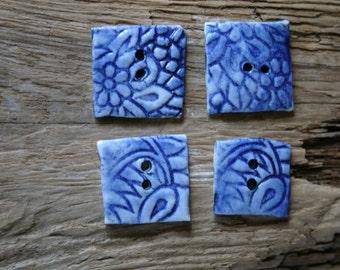 Set of Four Blue Ceramic Buttons