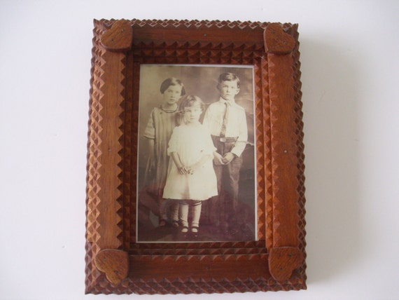 Handcarved wood tramp art frame picture by offroadpickers