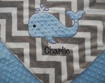 Custom Baby Blanket, Blue Whale Baby Blanket, Custom Blanket, Minky Baby Blanket, Made to Order