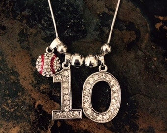 "18"" Personalized Rhinestone Sports Jersey TWO Number Necklace Baseball Charm Baseball MOM"