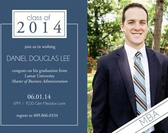 College Graduation Announcement 2014 - digital invitation, blue, photo, Class of 2014, modern