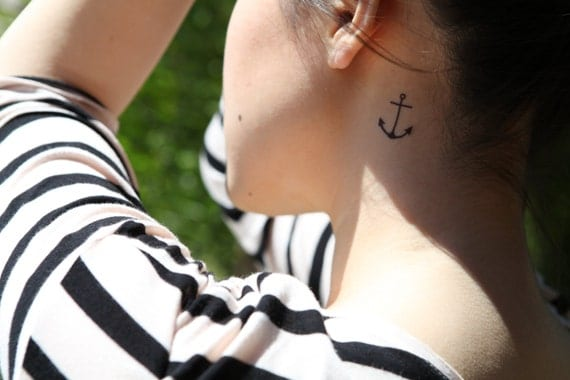 anchor tattoo behind ear temporary tattoo by Spirit Ink