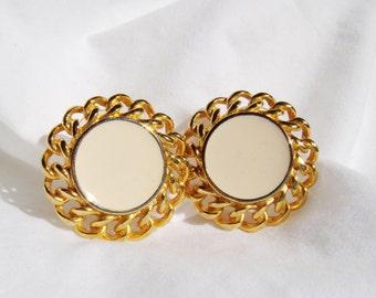 Vintage Weave Cream Enamel Earrings