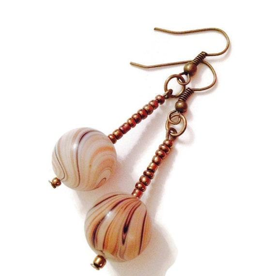 Eco Friendly Dangle Earrings Chocolate and Bronze Swirl