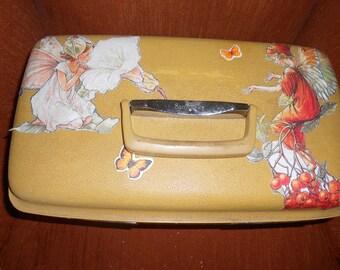 Decoupaged 1960s Samsonite Overnight Case- Mustard Color w/Fairies