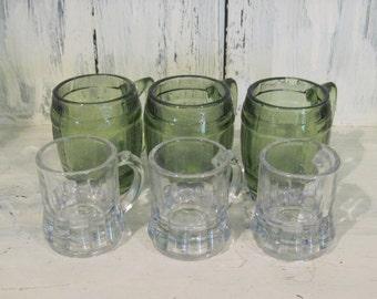 Vintage big little shot glasses green colored glass shot glasses, his and hers shot glasses set liquor glasses gift whiskey vodka shot glass