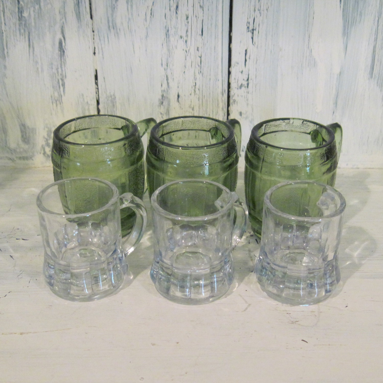 vintage big little shot glasses green colored glass shot. Black Bedroom Furniture Sets. Home Design Ideas
