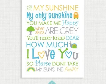 Nursery Wall Decor - You are my sunshine Print - Nursery Poster - Wall Decor -11x14 instant Digital Download