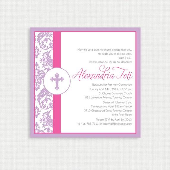 Printable Baptism Invitation- Damask Girl Baptism Invitation - First Communion- Christening Invite - Confirmation Invitation