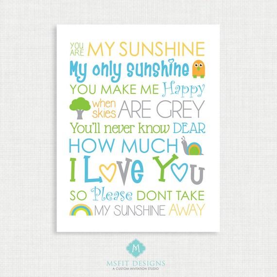 Nursery Wall Decor - You are my sunshine Print - Nursery Poster - Wall Decor -11x14 instant Digital Download