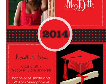 Photo Cap and Scroll Graduation Party Invitations - Picture Graduation Announcement