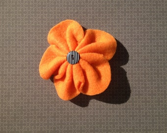 Clearance. Hair Clip. Barrette. Orange fleece flower. Black with white striped button as center of flower.  Tigers. Girls.