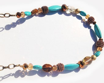 turquoise & bronze glass beaded necklace