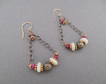 Two-Tone Ruby, Opal and Pyrite Swag Dangle Earrings
