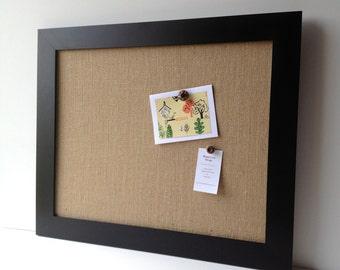 Burlap bulletin board, OVERSIZE magnetic framed memo board, decorative bulletin, memo board, office decor, rustic wedd, place card display,