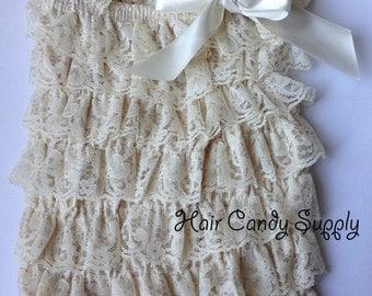 Antique Ivory Cream Lace Petti Romper - Photo Prop, Summer, Spring, Birthday