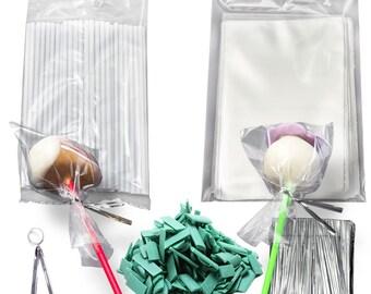 Cake Pop Kit for 50 Cakepops - Green (bags lollipop sticks melting chocolate twist ties)