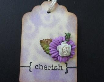 Cherish Tag, Flower Tag, Gift Tag, Shabby chic Tag