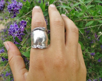 Porans, Long Handcrafted Sterling Silver Ring, Unique Design by Porans, Artistic Jewelry, Israel