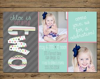 2nd Birthday Invitation - Second Birthday Party Invite - Printable - Whimsical Polka Dot Chevron