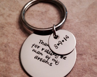 Hand stamped mother in law father in law keychain personalized