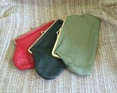 Green Leather Purse, Soft Leather, Dark Green, Kiss Closure, Lined, Gold Frame, Use For Cosmetics-Coins-Smoking Accessories, Gift Idea