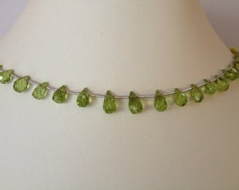 Peridot Faceted Briolette Beads, Graduated, 4mm to 8mm, August Birthstone, Green, Jewery Making, Beading, Crafting, 21 Green Beads