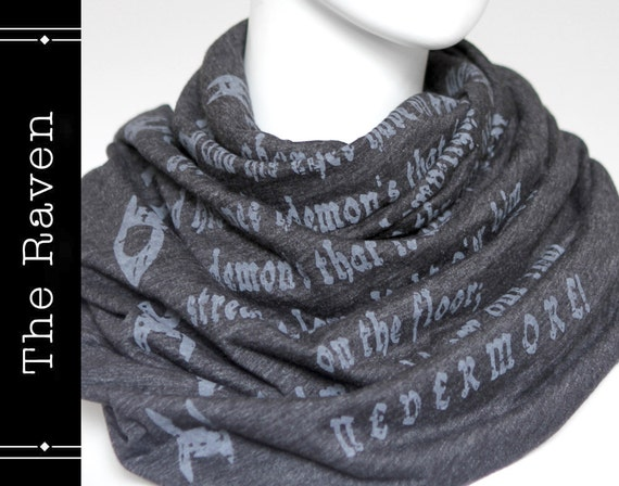 The Raven poem on the scarf - Infinity scarf - Graphite -Text Scarf ...