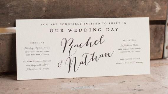 The Rachel Wedding Invitation, Rustic Wedding Invitation, Calligraphy Wedding Invitation, vintage wedding invitation, eco friendly wedding