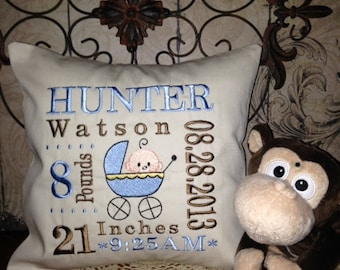 Birth Annoucement Personalized Pillow - Machine Embroidered