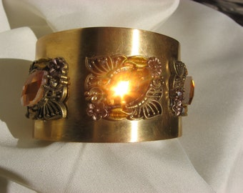 Wide Gold Cuff with Citrine Colored Stones