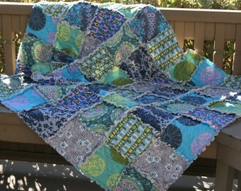 READY to SHIP, Crib Quilt, Rag Quilt, Amy Butler, Cameo, Aqua, teal, lime, olive, pink, grey, blue, green. Handmade, All Natural
