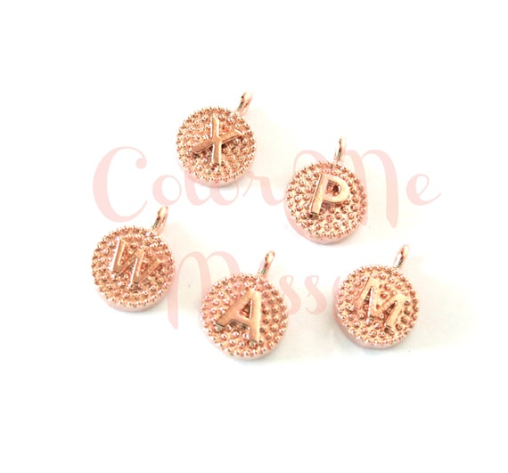 Customized Rose Gold Letter Charms - Hand Stamped Initial Charms, Personalized, Rose Gold Leaf, Add a Charm, personalized necklace bracelet