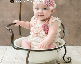 Baby girl lace outfit, beige lace romper set. Lace Petti Romper , headband and clip, Baby Girl Photo Prop
