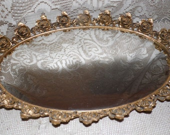 Vintage Stylebuilt Vanity Dresser Mirror Brass Ormolu Roses Design