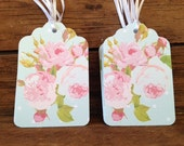 """2.75"""" 12 Pack of green polka dot and pink vintage floral gift/favor/merchandise tags - Cath Kidston themed."""