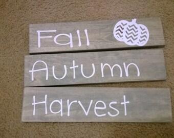 "3 Piece stackable blocks ""Fall, Autumn, Harvest"""