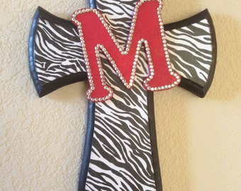 Black and White Zebra Print Cross with Initial Embellishment