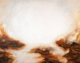 Angelic Rocks - Brown and White Limited Edition Abstract Painting on Canvas