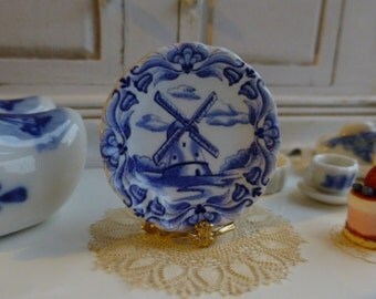 Blue Delft Dutch Windmill Dollhouse Miniature Plate