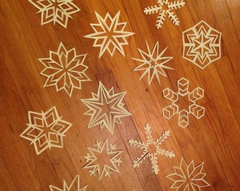 Large Graph Paper Snowflakes: Set of Ten