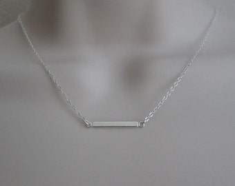 Sterling Silver Bar Necklace. Dainty Layer Necklace. Sterling Silver Jewelry. Modern Jewelry. Everyday Necklace. Thin Sterling Silver Bar.