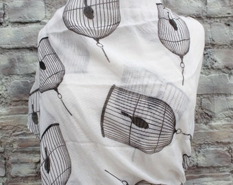 Infinity  scarf with bird in cage print  for Woman great accessory for your outfit