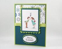 Handmade Christmas Card - Couple Kissing under the Mistletoe - Merry Kissmas