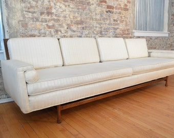 Elegant Mid Century Modern Sofa with Greek Key Design // Danish Modern Sofa