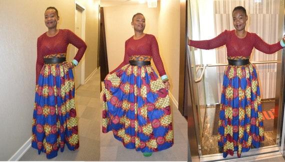 unique jupe maxi imprim e africaine jupe taille haute. Black Bedroom Furniture Sets. Home Design Ideas