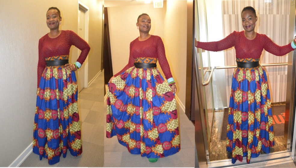 African Print High Waist Maxi Skirts Unique African print m...