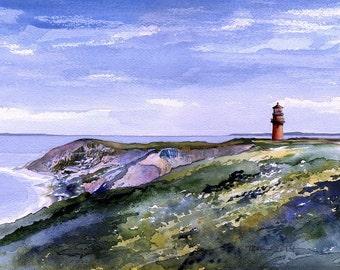 Gay Head Lighthouse & Aquinnah Cliffs, Martha's Vineyard, Mass. Matted prints, 5x7 notecards of original watercolor painting.