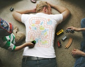 XL, Dad's Train Shirt, Dad Gift from Kids, Play Mat Shirt, Gift for Him, Train Track Shirt, Boys Train Birthday, Gifts for Dad from Baby