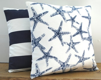 1 navy nautical and 1 striped pillow covers, cushion, decorative throw pillow, 20x20